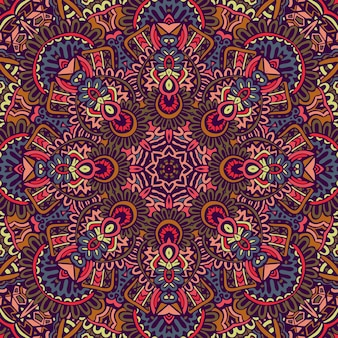 Conception sans couture ethnique indienne tribale. motif de mandala coloré festif.