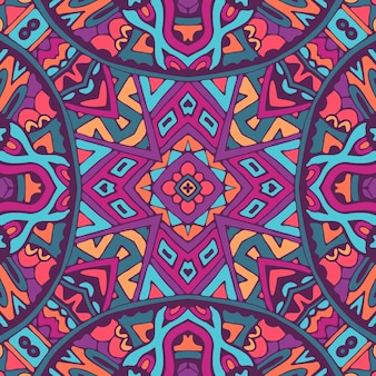 Conception sans couture indienne ethnique tribale. motif d'art mandala coloré festif. médaillon géométrique doodle boho.