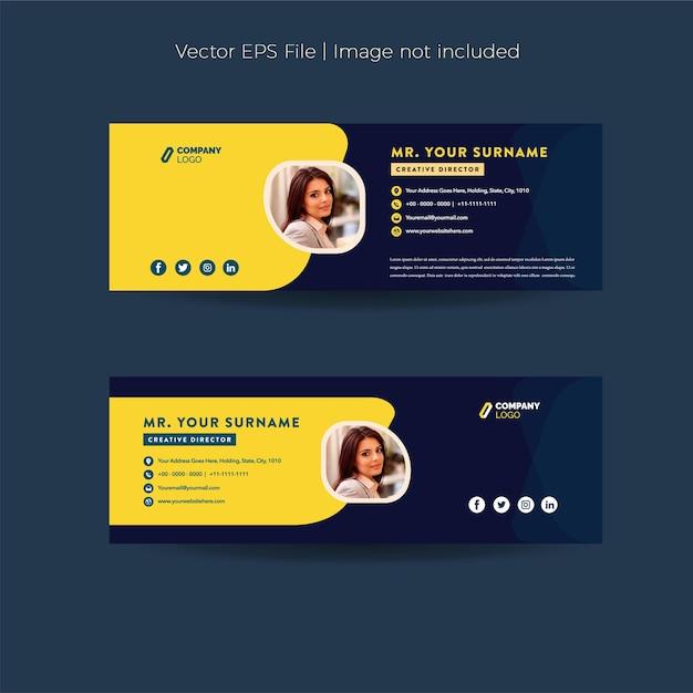 Conception de signature de courrier électronique ou pied de page de courrier électronique ou couverture personnelle de médias sociaux
