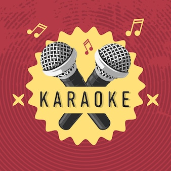 Conception de signe d'étiquette karaoké avec illustrations de microphone