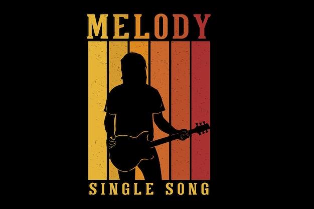 Conception de silhouette de chanson simple de mélodie de guitariste
