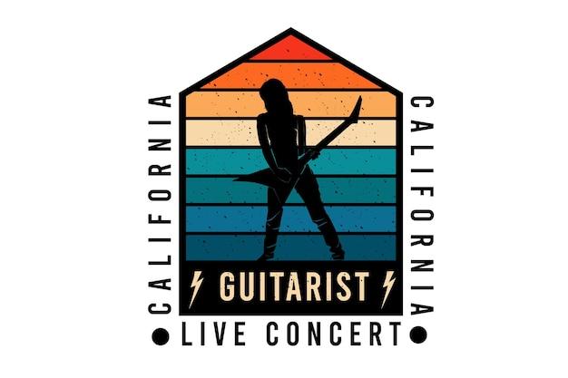 Conception de silhouette de concert en direct de guitariste de californie