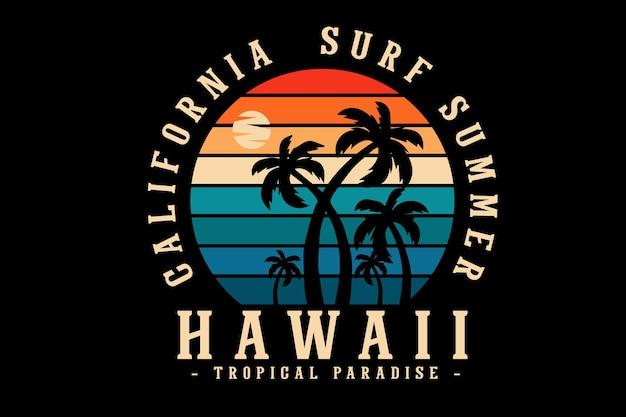 Conception de silhouette d'été de surf de californie