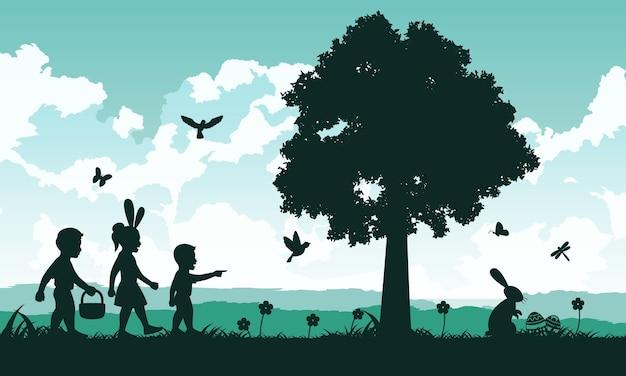 Conception de la silhouette de la fête du christianisme appelée pâques