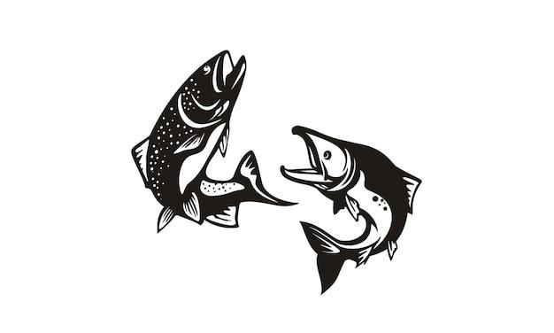 Conception de silhouette de poissons de basse et de saumon