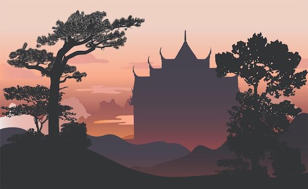 Conception de silhouette silhouette wat benjamabhopit