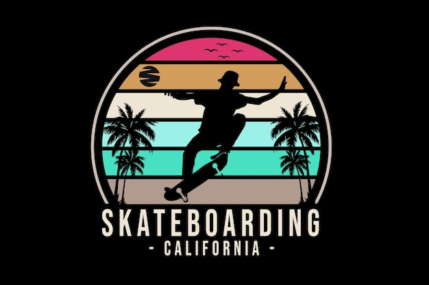 Conception de silhouette de skateboard en californie