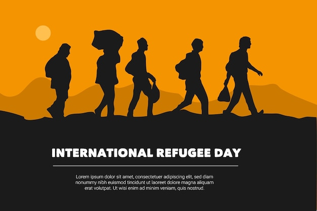 Conception de silhouettes pour la journée mondiale des réfugiés