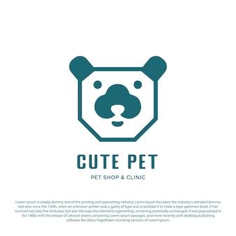 Conception simple de logo d'animal familier de vecteur vecteur minimaliste de tête de chien avec le style de contour
