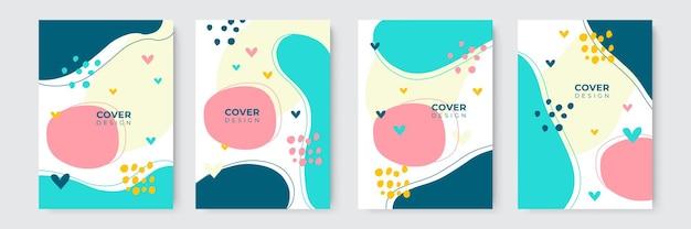 Conception simple et moderne de couverture de livre aux tons de terre pastel dessinés à la main avec des formes blob, liquides, dot, géométriques et abstraites. modèles de couverture modernes abstraits