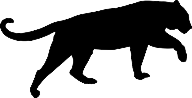 Conception simple de silhouette de vecteur de tigre silhouette noire d'un tigre sautant isolé