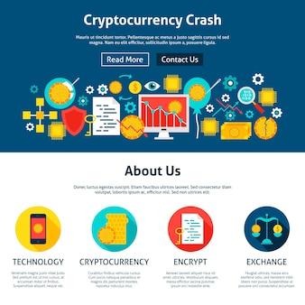 Conception de site web de crash de crypto-monnaie. illustration vectorielle de style plat pour la bannière web et la page de destination.