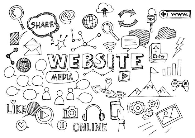 Conception de site web doodles éléments.