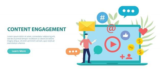 Conception de site web d'engagement de contenu