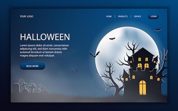 Conception de site web spooky halloween, modèle de page, mise en page d'accueil
