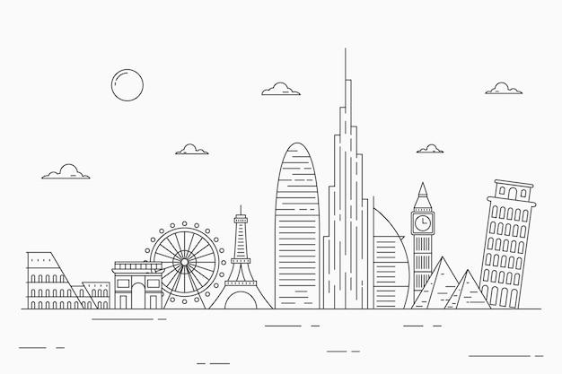 Conception de skyline de monuments monochromes