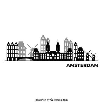 Conception de skyline noir et blanc d'amsterdam