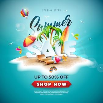 Conception de soldes d'été avec ballon de plage et palmier exotique