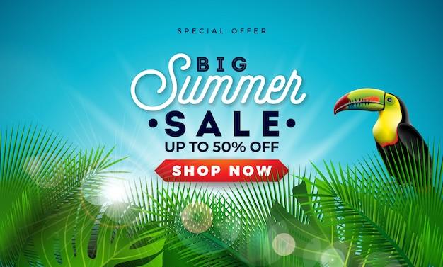 Conception de soldes d'été avec feuilles de palmier exotiques et oiseau toucan