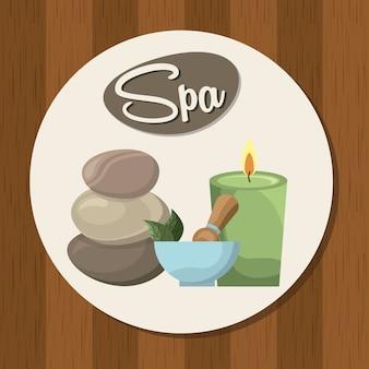 Conception de spa au cours de l'illustration vectorielle fond en bois