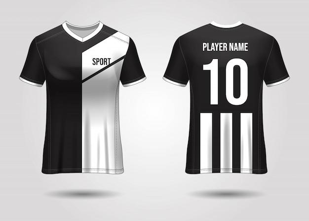 Conception de sport de t-shirt. maquette de maillot de football pour club de football. vue avant et arrière uniforme. conception de modèle. modèle de maillot réaliste