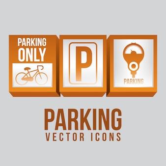 Conception de stationnement au cours de l'illustration vectorielle fond gris