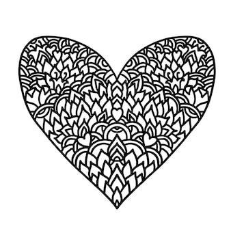 Conception de style mandala coeur zentangle dessinée à la main pour les cartes de saint valentin modèle de livre de coloriage vect ...