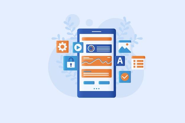 Conception de style plat illustration de développement mobile moderne
