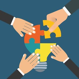 Conception de support de travail d'équipe puzzle