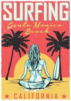 Conception de t-shirt ou d'affiche avec illustraion de fille avec planche de surf