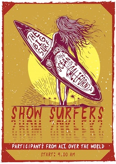 Conception de t-shirt ou d'affiche avec illustraion d'une fille avec planche de surf.