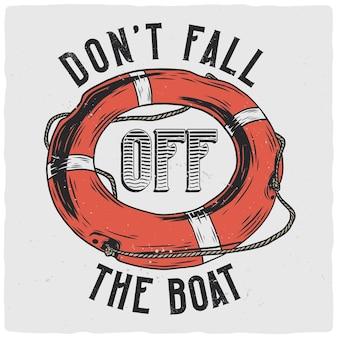 Conception de t-shirt ou d'affiche avec illustration de bouée de sauvetage