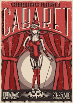 Conception de t-shirt ou d'affiche avec illustration de danseuse de cabaret