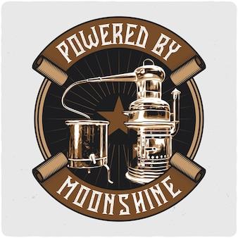 Conception de t-shirt ou d'affiche avec illustration du distillateur