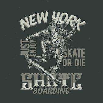Conception de t-shirt ou d'affiche avec illustration de l'homme à bord de la planche à roulettes. illustration dessinée à la main.