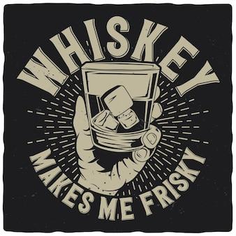 Conception de t-shirt ou d'affiche avec illustration de la main avec verre à whisky