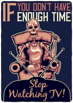 Conception de t-shirt ou d'affiche avec illustration d'un squelette sur le canapé.