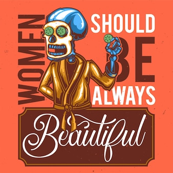 Conception de t-shirt ou d'affiche avec illustration d'un squelette avec masque.