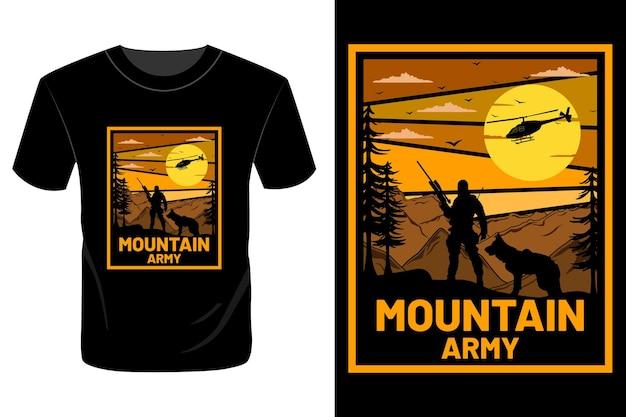 Conception de t-shirt de l'armée de montagne rétro vintage
