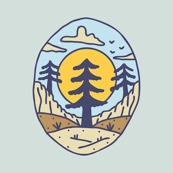Conception de t-shirt d'art d'illustration graphique de nature et d'arbre de beauté