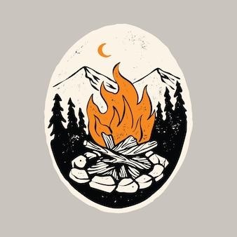 Conception de t-shirt d'art d'illustration graphique de nature de feu et de beauté de camp de randonnée