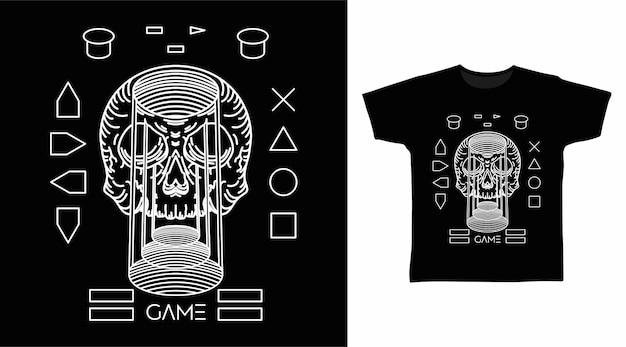 Conception de t-shirt d'art de ligne de crâne