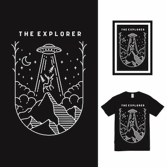 La conception de t-shirt d'art de ligne de l'explorateur