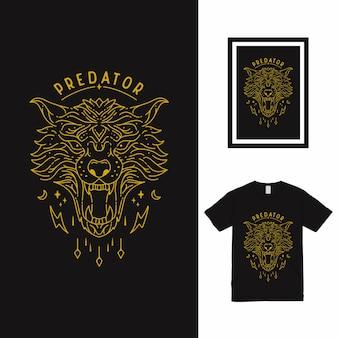 La conception de t-shirt d'art de ligne de grand loup
