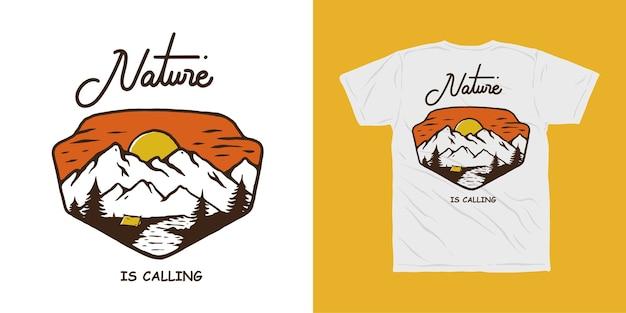 Conception de t-shirt aventure camping en montagne