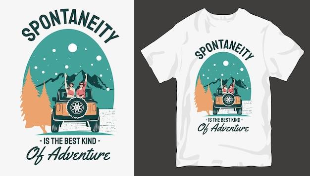 Conception de t-shirt d'aventure. conception de t-shirt en plein air.