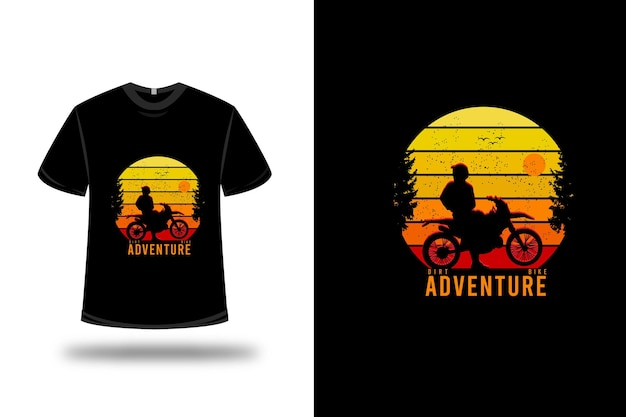 Conception de t-shirt. aventure en dirt bike en jaune orange et rouge