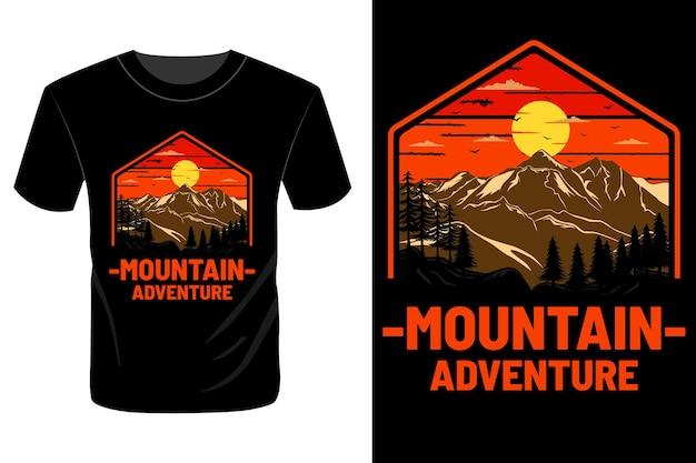 La conception de t-shirt d'aventure en montagne rétro vintage