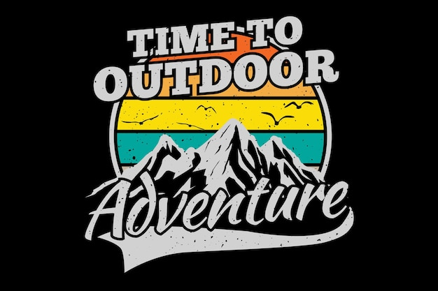 Conception de t-shirt avec aventure en plein air en montagne dans un style rétro vintage