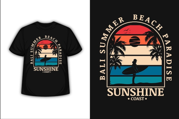 Conception de t-shirt avec bali summer beach paradise sunshine coast en orange crème et bleu